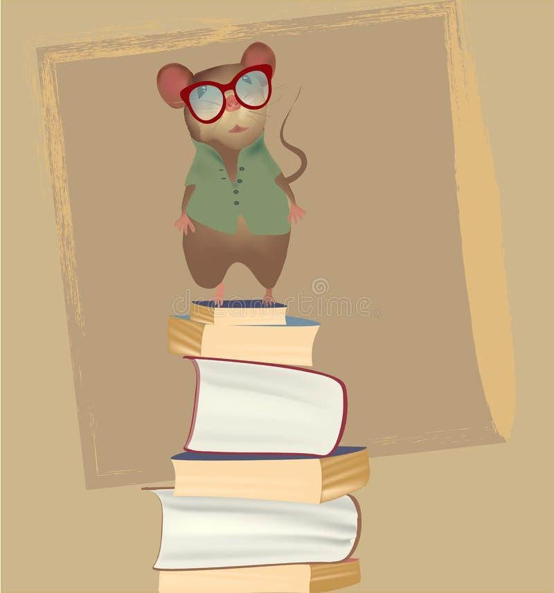 Maus auf einem Stapel von Büchern stock abbildung