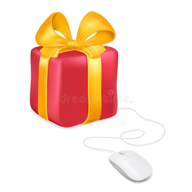 Maus befestigt zu einer Geschenkbox Kaufende Geschenke durch das on-line-Einkaufen Vektorbild lokalisiert vektor abbildung
