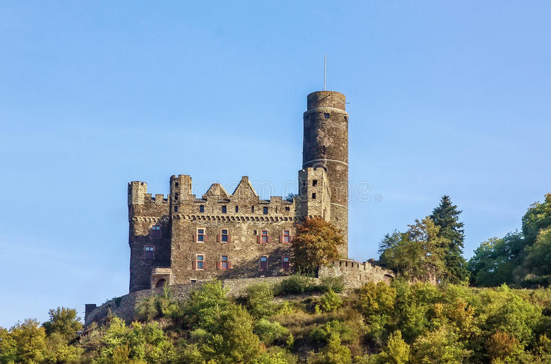 Maus Castle, Germany. Maus Castle is located on the high bank of the Rhine River, Germany royalty free stock photos