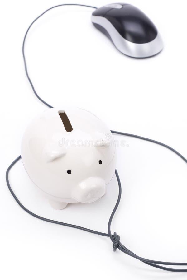 Maus Der Piggy Querneigung Und Des Computers Stockfoto