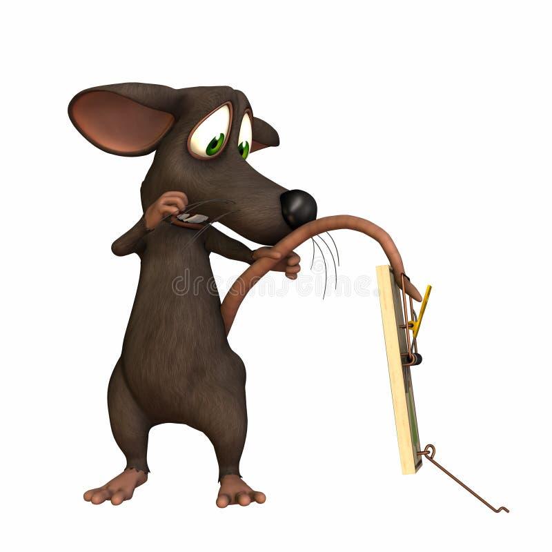 Maus - Heck in der Falle lizenzfreie abbildung