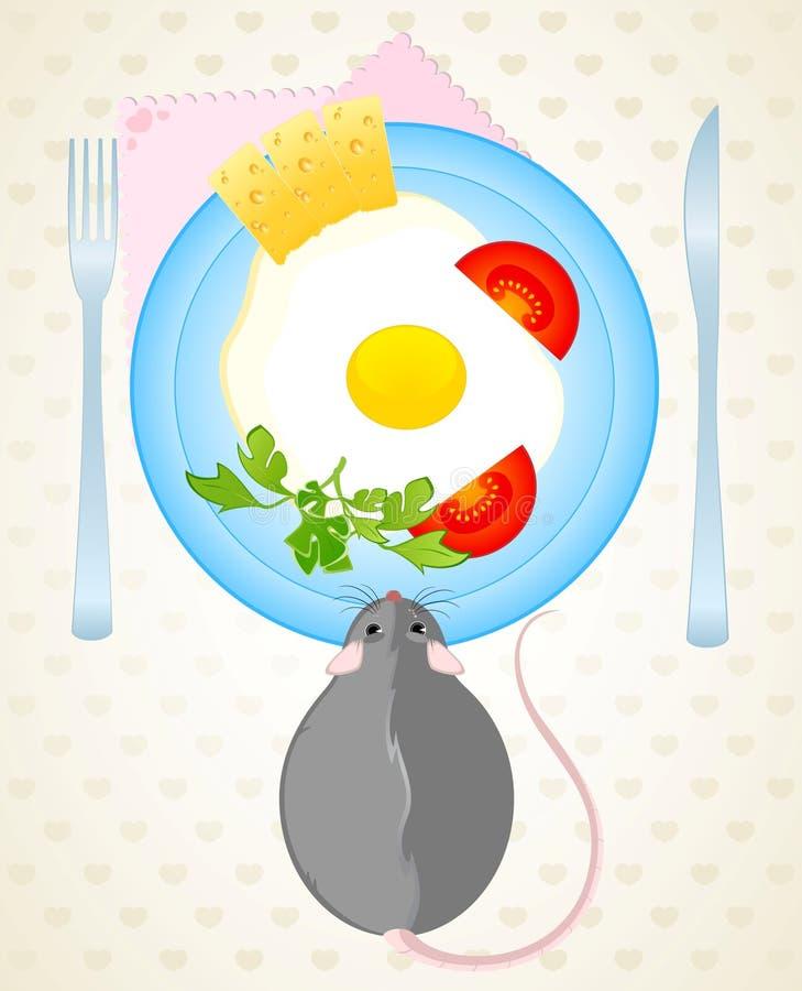 Maus Möchte Die Spiegeleier Essen Lizenzfreies Stockbild