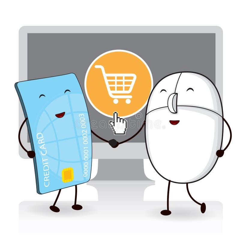 Maus mit der Kreditkarte, online kaufend stock abbildung