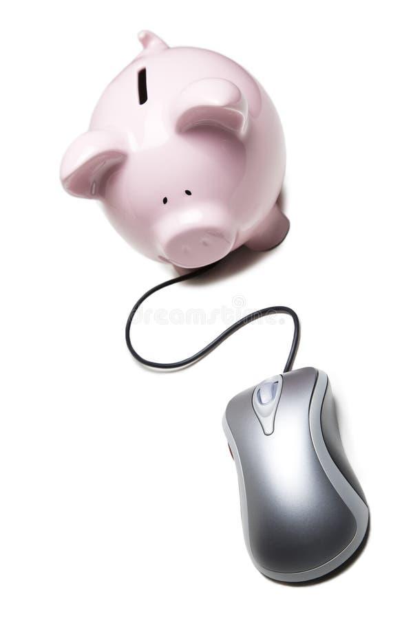 Maus schloß an eine piggy Querneigung an lizenzfreies stockfoto