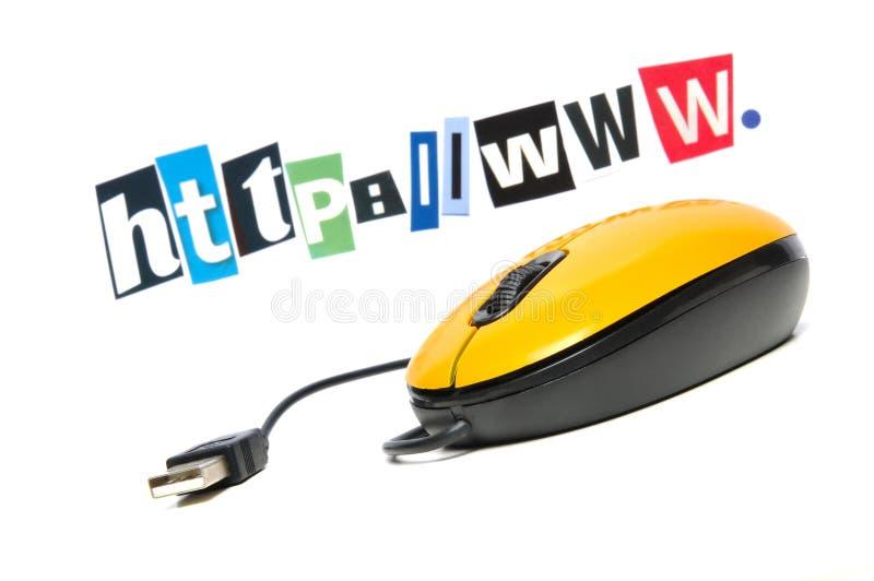 Maus vor dem beschriftenden WWW stockfotos