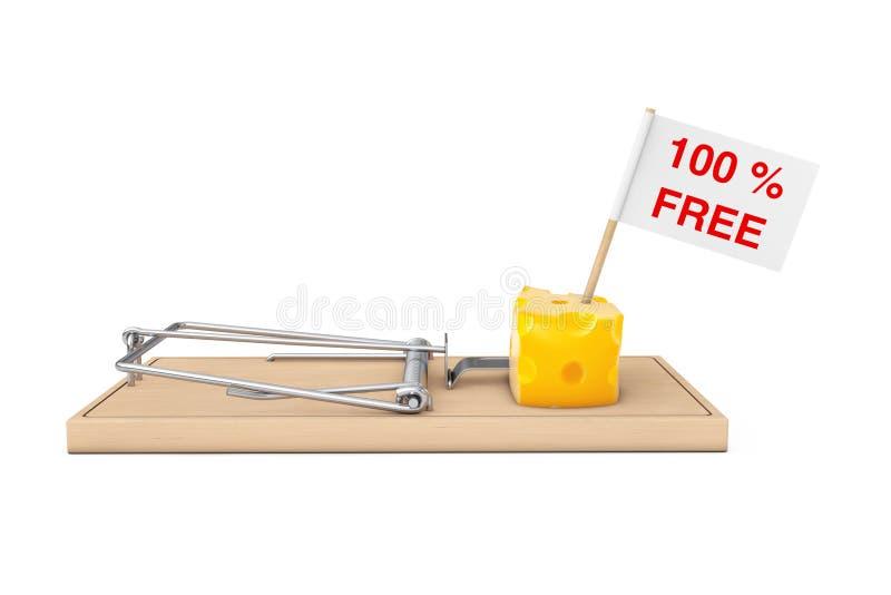 Mausefalle mit 100% freiem Käse und Flagge mit Köder-Zeichen 3d ren lizenzfreie abbildung