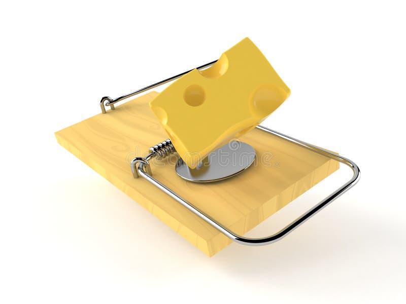 Mausefalle mit Käse lizenzfreie abbildung