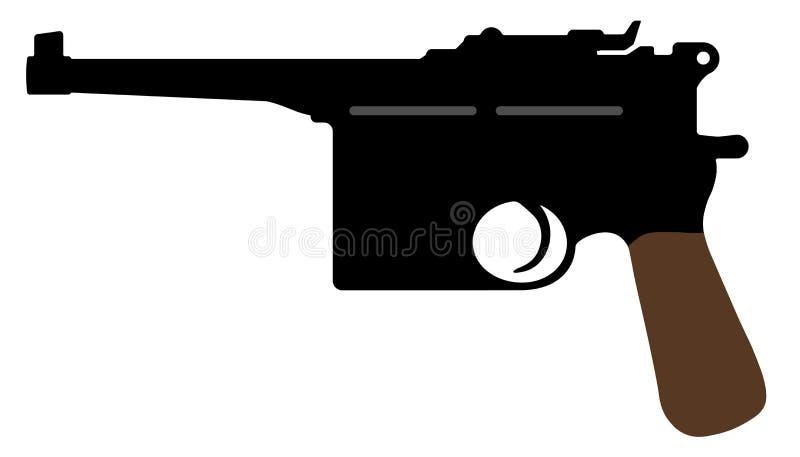 Mauser pistol Vapen för vektorkonturvapen vektor illustrationer