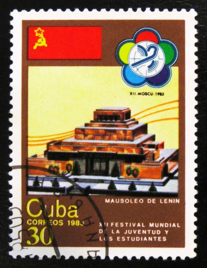 Mausolée de Lénine, festival 12 annuel des jeunesses et studets, vers 1985 photographie stock