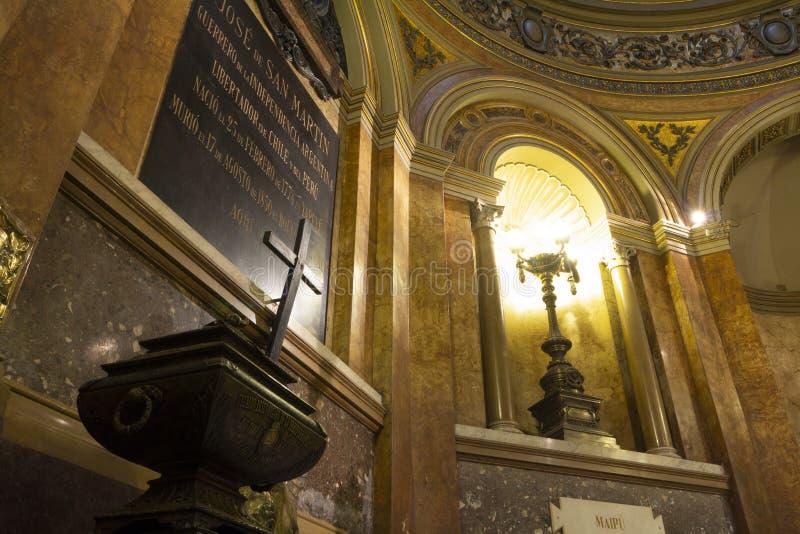 Mausolée où sont les restes du libérateur de l'Argentine José de San MartÃn dans Metr photographie stock libre de droits