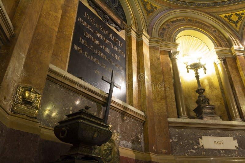 Mausolée où sont les restes du libérateur de l'Argentine José de San MartÃn dans Metr photos libres de droits