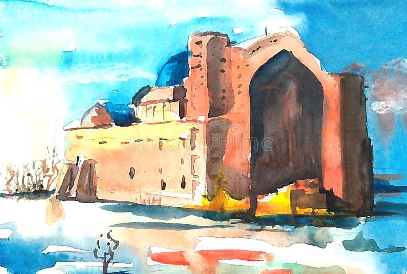 Mausoléu antigo contra o céu azul ilustração royalty free