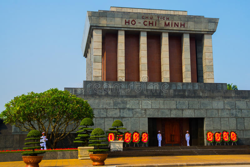 Mausoléu de Ho Shi Min na cidade de Hanoi imagens de stock royalty free