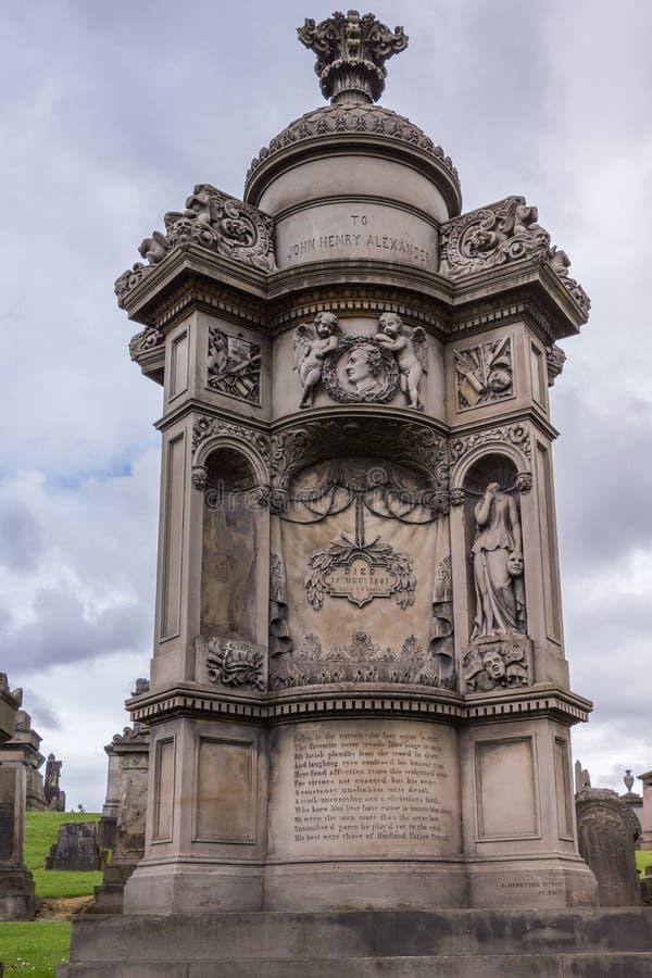 Mausoléu de John Henry Alexander em Glasgow Necropolis, Scotlan fotografia de stock royalty free
