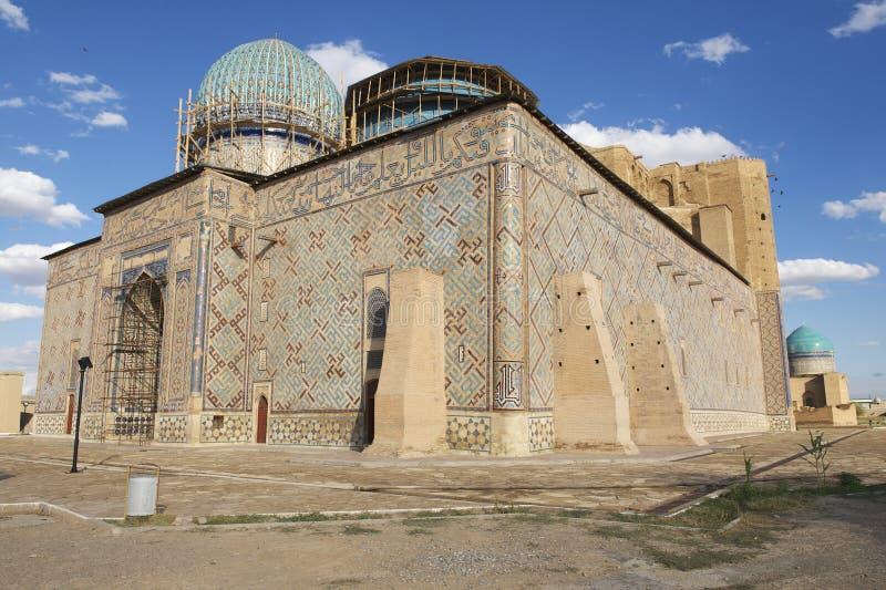 Mausoléu de Khoja Ahmed Yasavi em Turkistan, Cazaquistão imagens de stock