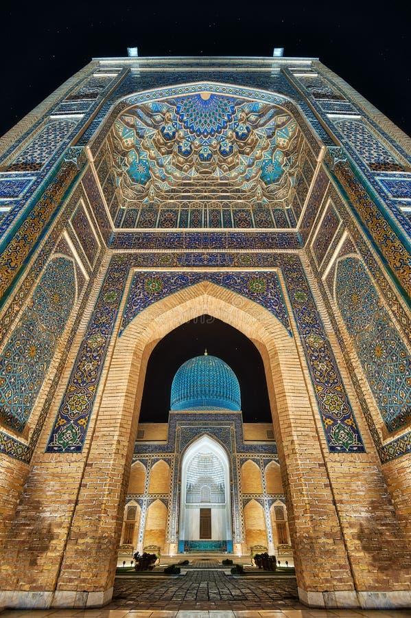 Mausoléu do Gur-e-Amir em Samarkand central, Usbequistão ao longo do fotografia de stock