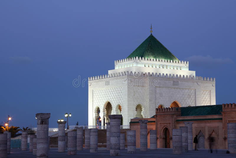 Mausoléu no crepúsculo, Rabat fotografia de stock