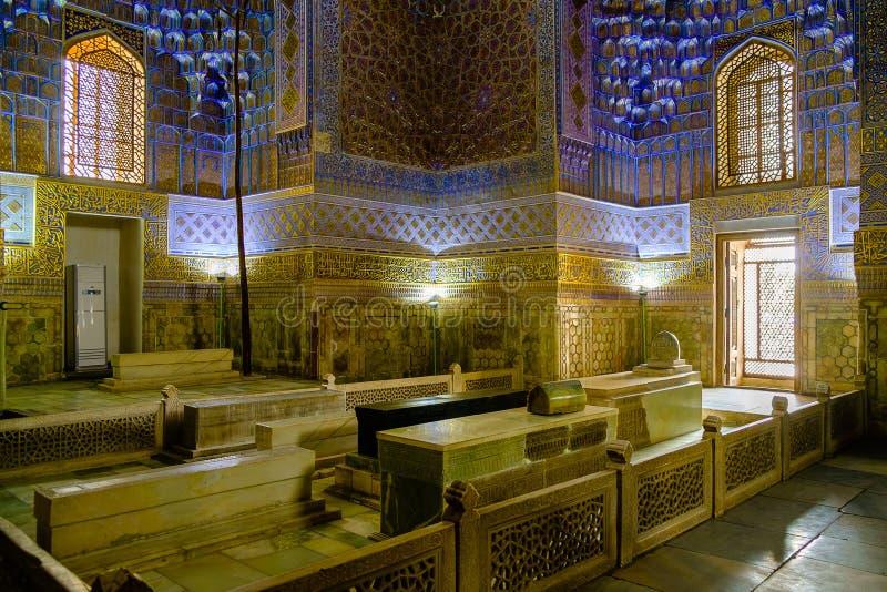 Mausoleo de Gur Emir del conquistador asiático Tamerlane dentro foto de archivo