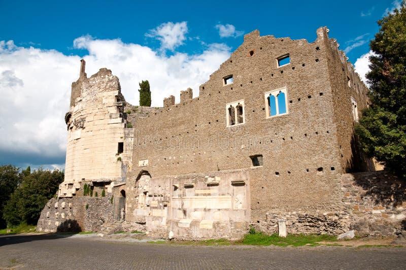 Mausoleo di Cecelia Metella Fachade in Via Appia antica at Rome. Italy royalty free stock photography