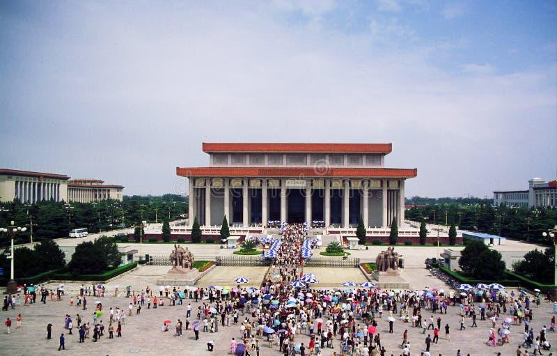 Mausoleo di Mao Zedong nel quadrato di Tienanmen a Pechino fotografia stock libera da diritti
