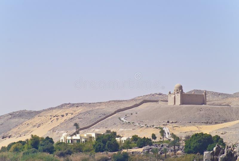 Mausoleum of Aga Khan. Aga Khan mausoleum next Nile river bank in Egypt royalty free stock images