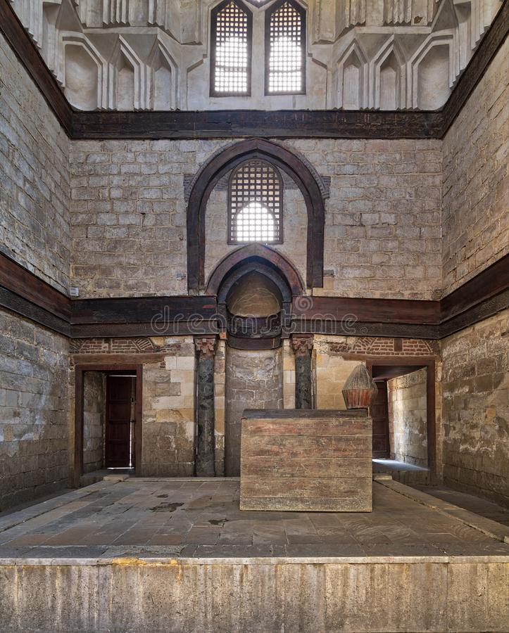 Mausoleum of al-Nasir Muhammad Ibn Qalawun, Al Muizz Street, Old Cairo, Egypt. Interior of Mausoleum of al-Nasir Muhammad Ibn Qalawun, Al Muizz Street, Old Cairo stock photos