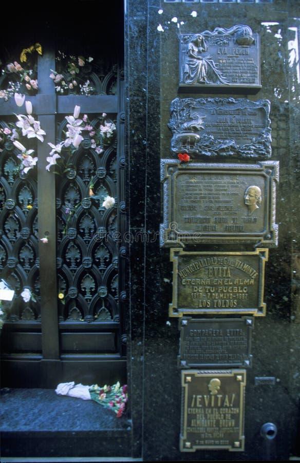 Mausoleum av Familia Duarte, jordfästningplats av Eva Peron i Buenos Aires, Argentina arkivbild