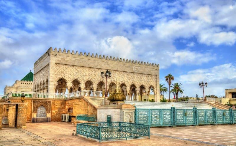 Mausoleum av Mohammed V, en historisk byggnad i rRabat, Marocko Det innehåller gravvalven av den marockanska konungen och hans royaltyfria foton