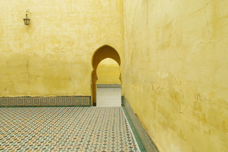 Mausoleum av Moulay Ismail i Meknes royaltyfri foto