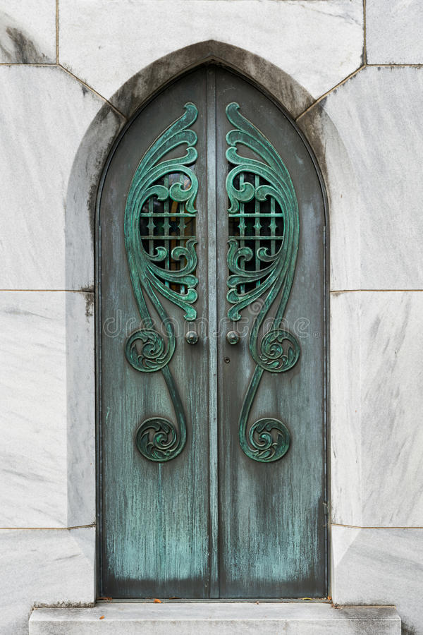 Mausoleum doors. At the Bonaventure Cemetery on Bonaventure Road in Thunderbolt, Georgia stock image