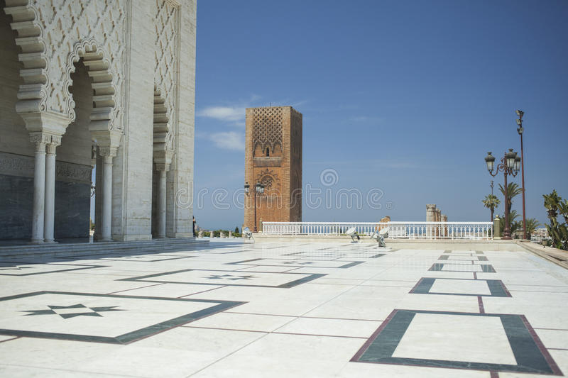 Mausoleum en Toren van Hassan in Rabat royalty-vrije stock afbeelding