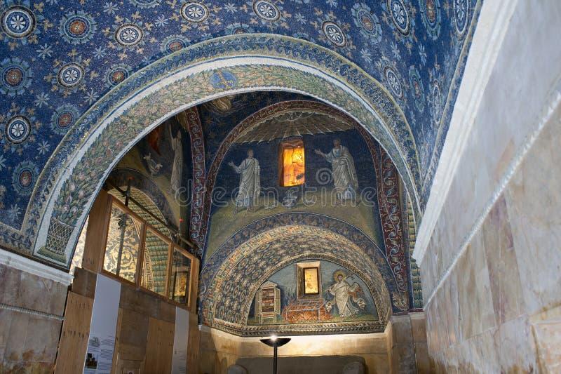 Mausoleum of Galla Placidia. Inside of Mausoleum of Galla Placidia, Ravenna, Italy royalty free stock photo