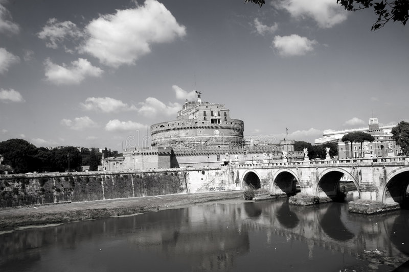 Mausoleum of Hadrian. Domed building with a bridge over the river Tiber. Location is Castel Sant'Angelo, Vatican city, Rome. Also known as The Mausoleum of royalty free stock photo