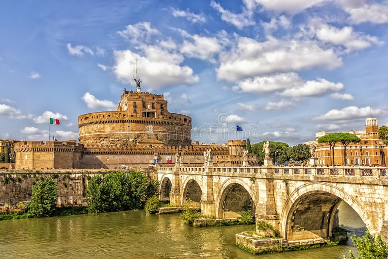 The Mausoleum of Hadrian, the Aelian Bridge and the Tiber in Rome. Italy royalty free stock photography