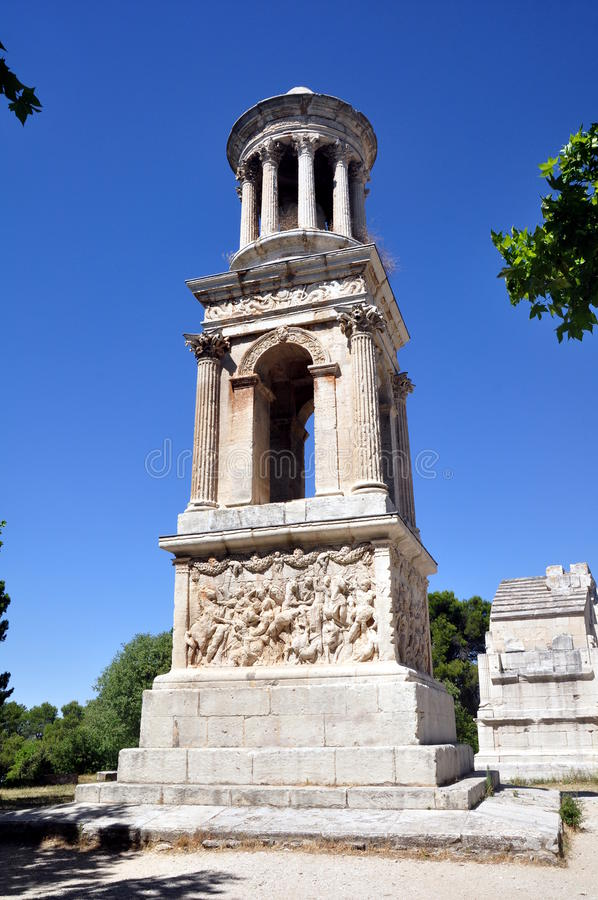Mausoleum of the Julii in the Roman ruins of Glanum stock photos