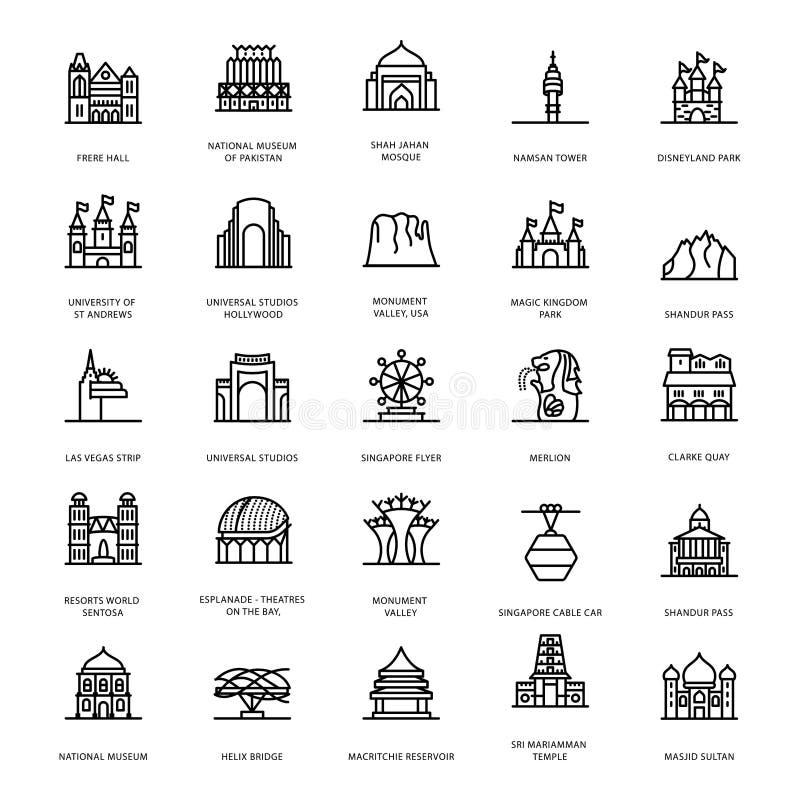 Mausoleum Landmarks Line Icons vector illustration