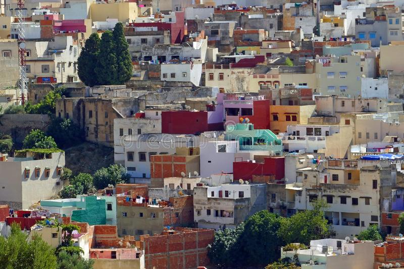Colorful houses in the old town of Moulay Idriss, Morocco, Africa stock image