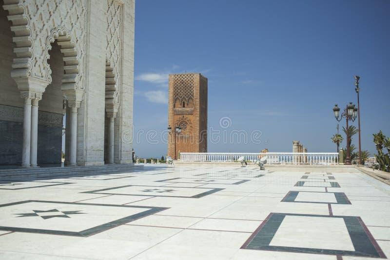 Mausoleum och torn av Hassan i Rabat royaltyfri bild