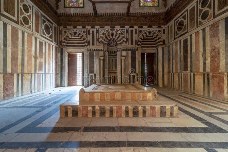 Mausoleum of Sultan Al Zahir Barquq at the Barquq complex located at al Muiz Street, Cairo, Egypt stock photos