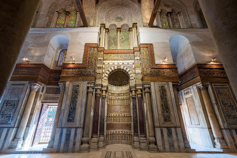 Mausoleum of Sultan Qalawun with decorated colorful marble niche, Mihrab and decorated marble wall stock photo