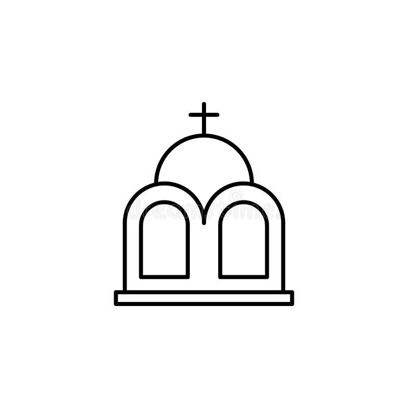 Mausoleum, Todesentwurfsikone ausführlicher Satz Todesillustrationsikonen Kann f?r Netz, Logo, mobiler App, UI, UX verwendet werd vektor abbildung