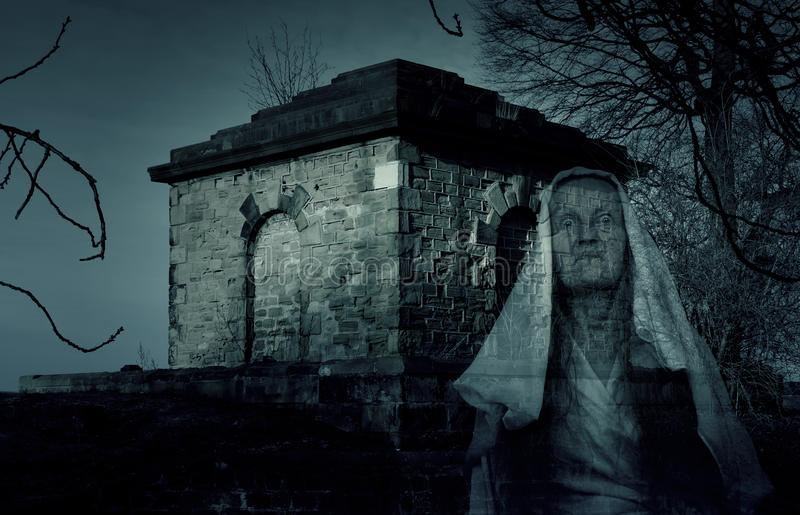 Mausoleum Tomb Ghost. Photo Of Mausoleum Tomb With Ghost royalty free stock photos