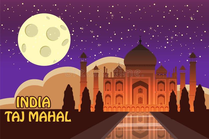 Mausoleum van Taj Mahal in Agra, India, historische mening, nachtmaan, uitzichtaantrekkelijkheid, godsdienst, beeldverhaalstijl,  royalty-vrije illustratie