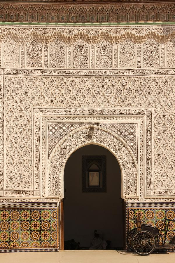 Mausoleum. Zaouia sidi bel abbes. Marrakesh. Morocco. Entrance to the mausoleum viewed from the courtyard. Zaouia sidi bel abbes. Marrakesh. Morocco royalty free stock photo