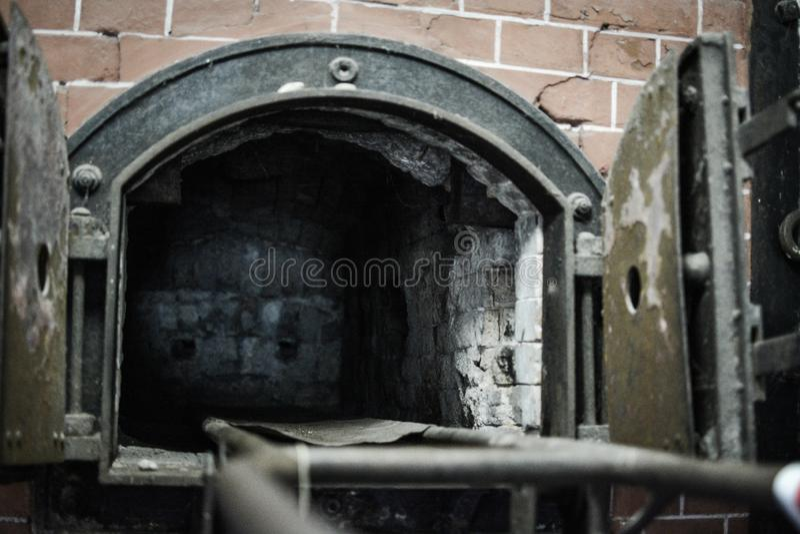 Mauthausen, Austria; 07/26/2015: Widok crematorium Mauthausen koncentracyjny obóz obrazy stock