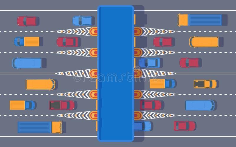 Mautstraße mit dem Kontrollpunkt Straßenbenutzungsgebühr für die Anwendung teuer Landstraßengebührnpiazza mit Transport lizenzfreie abbildung