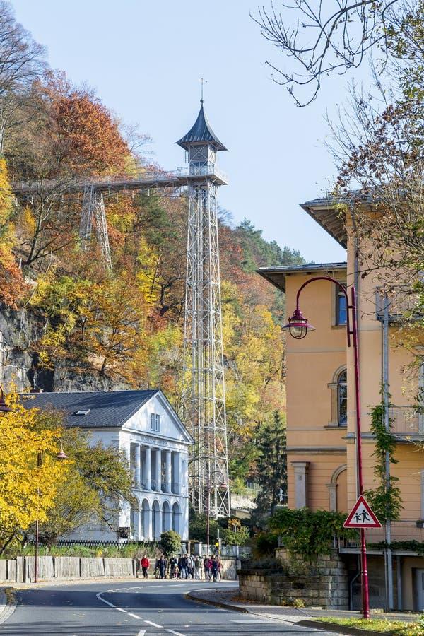 Mauvais ascenseur historique de Schandau à Ostrau dans Saxon Suisse photos libres de droits