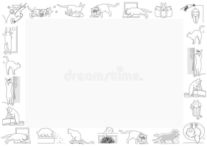 Mauvais cadre de chats illustration libre de droits