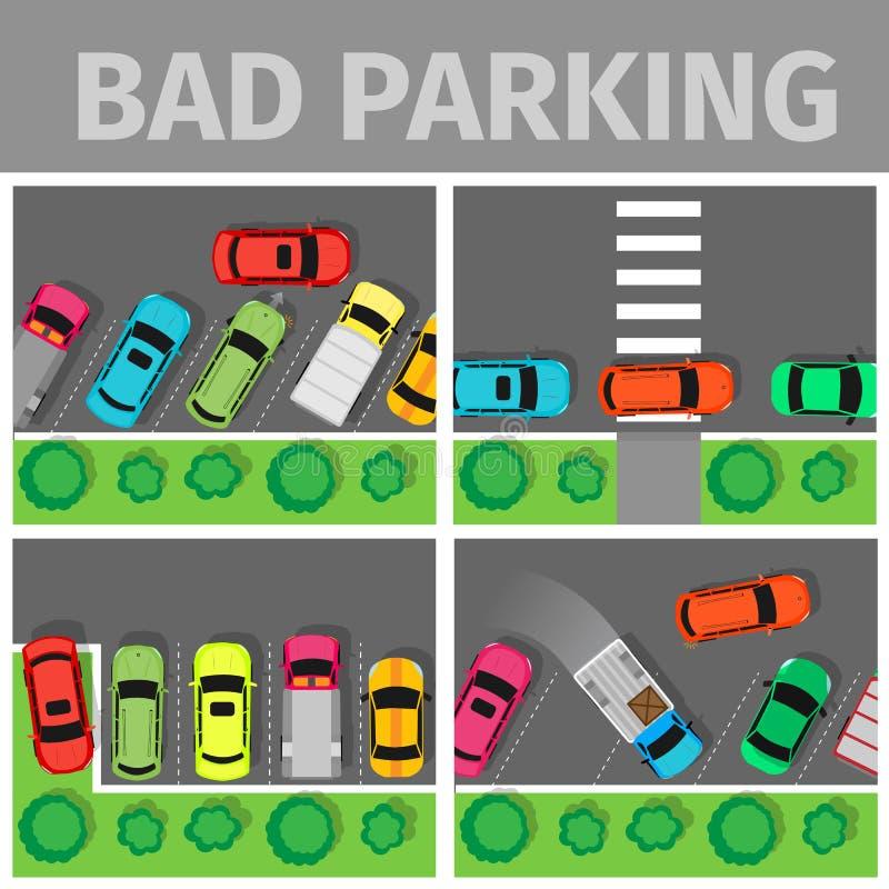 Mauvais ensemble de stationnement Voiture garée de la manière inadéquate illustration libre de droits