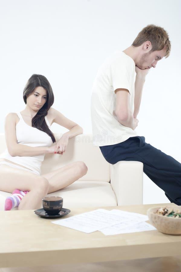 Mauvais moments dans les couples photographie stock